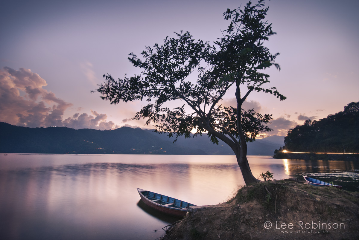 Sunset photograph of Phewa Lake, with tree and boat, Pohkara, Nepal, by lee robinson