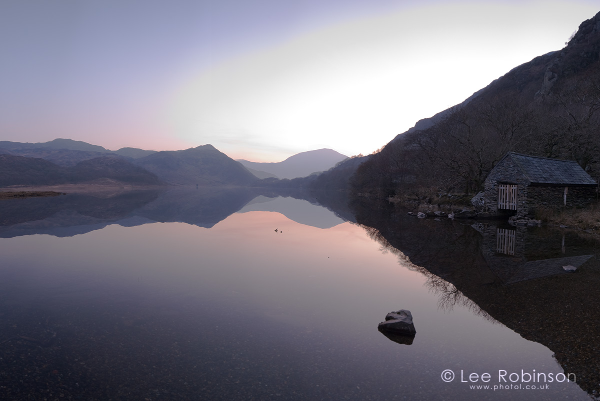Photograph by lee robinson of sunset reflections in Lake Llyn Dinas, Snowdonia, Wales